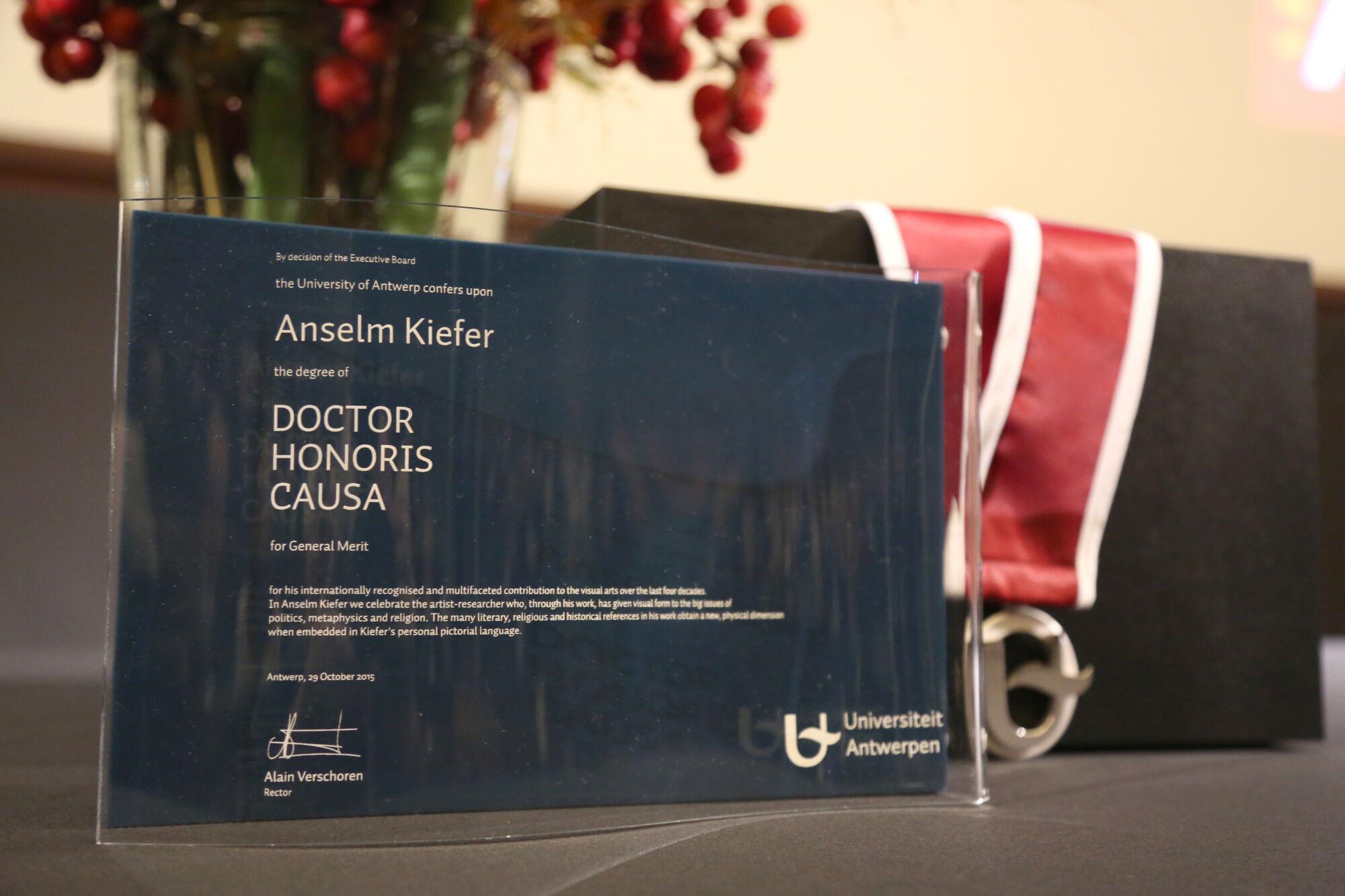 Eredoctoraat Anselm Kiefer en opening tentoonstelling Die Buchstaben