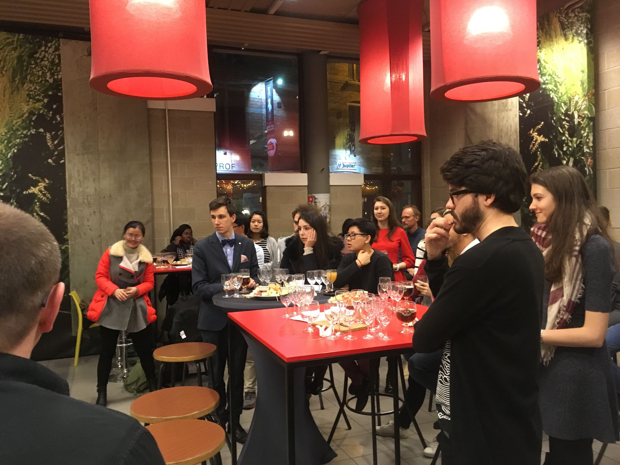 EGEI students enjoying Belgian food and drinks